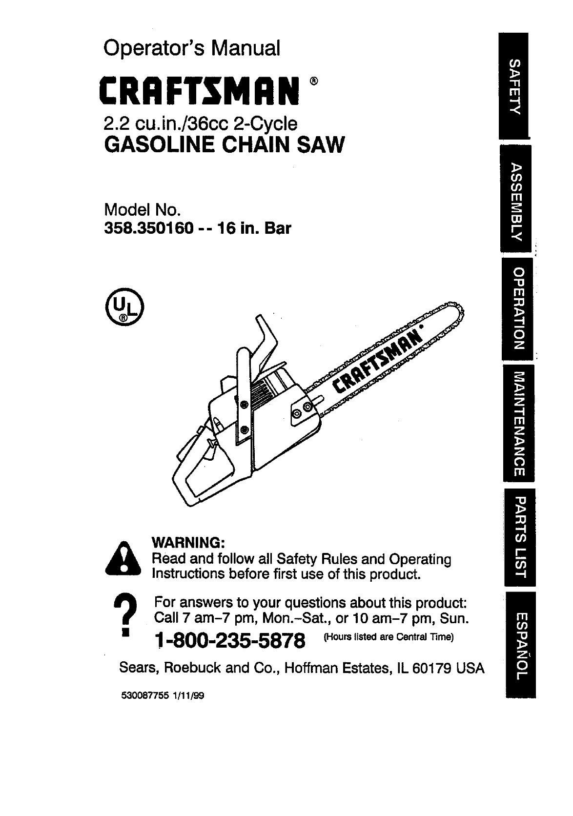 craftsman 358350160 user manual gasoline chain saw manuals and rh usermanual wiki Craftsman Chainsaw Repair Manual Craftsman 20 Chainsaw Manual
