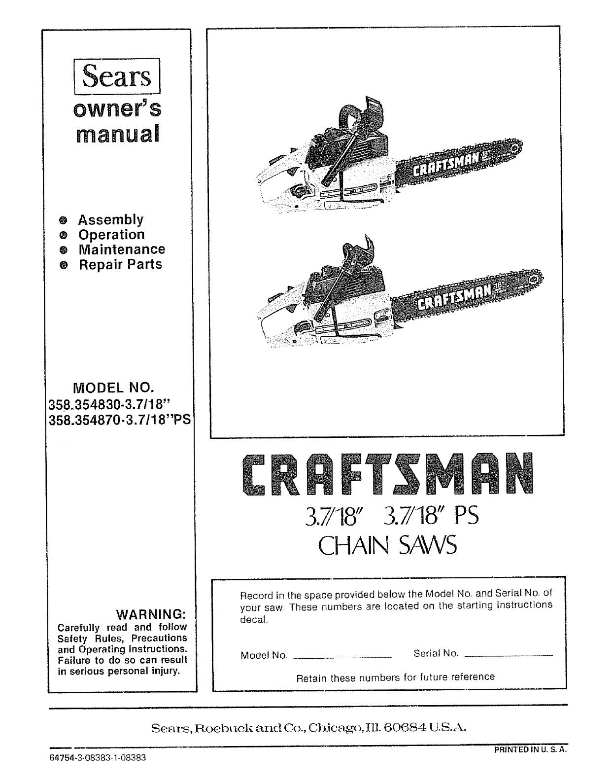 Craftsman Chainsaw 358 Parts Diagram Of Wiring 1244x1584
