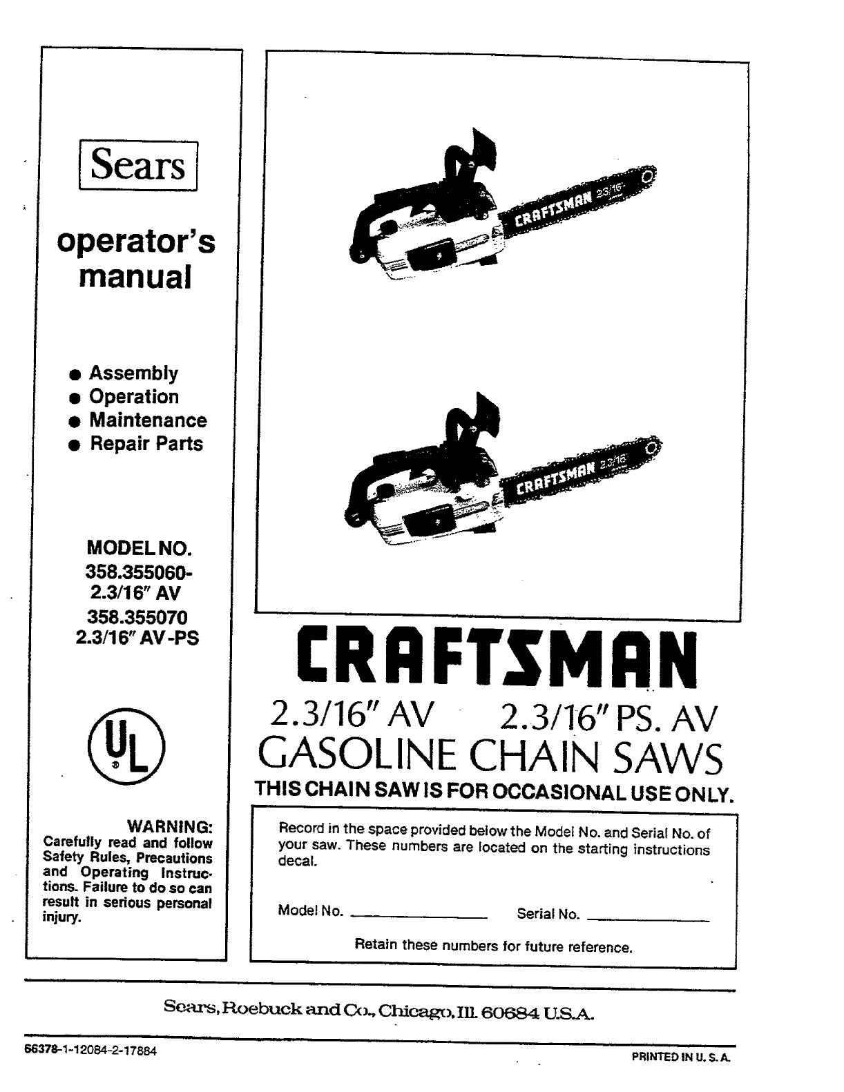 Craftsman 358355060 User Manual GASOLINE CHAIN SAWS Manuals