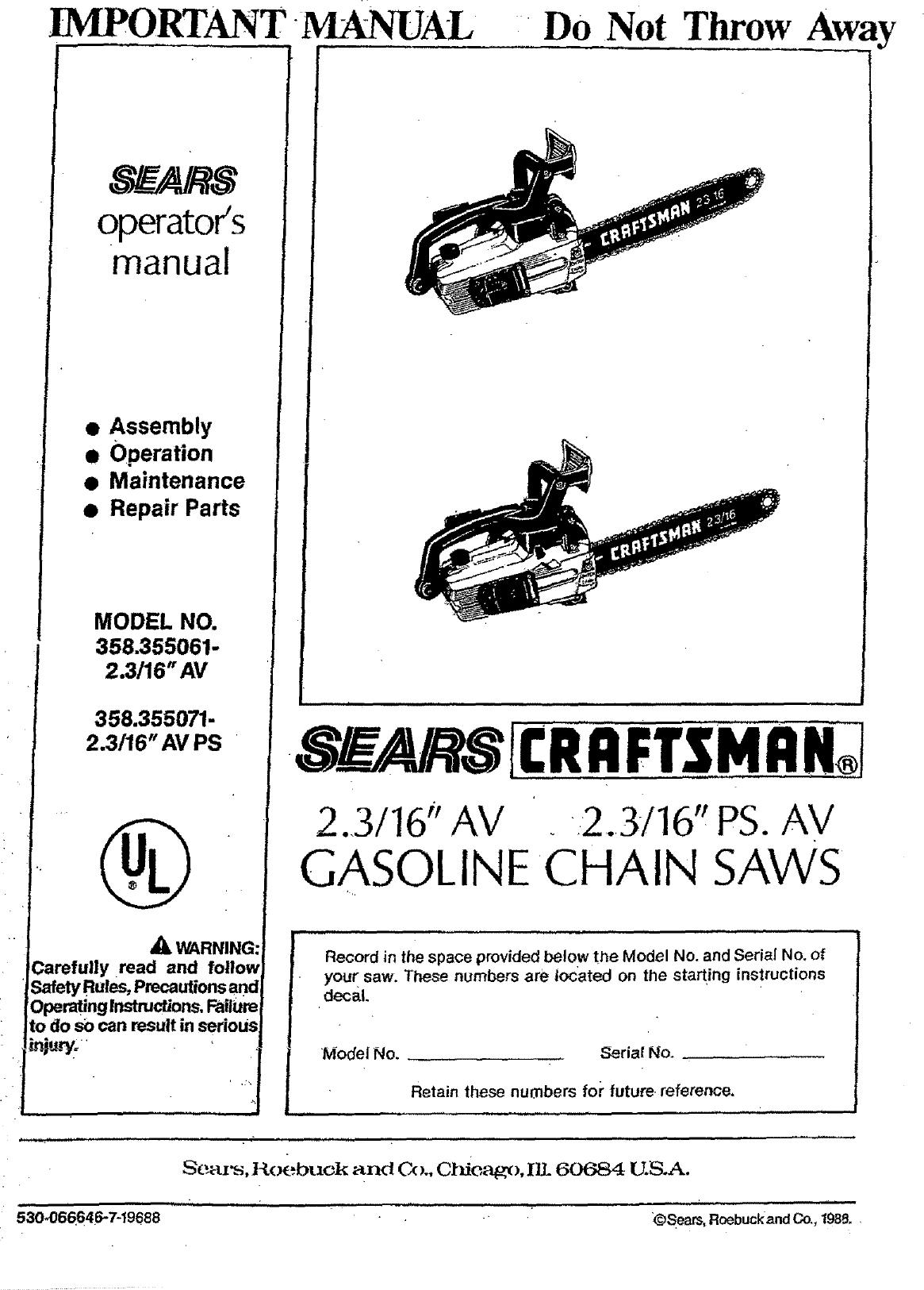 Craftsman 358355061 User Manual GASOLINE CHAIN SAWS Manuals