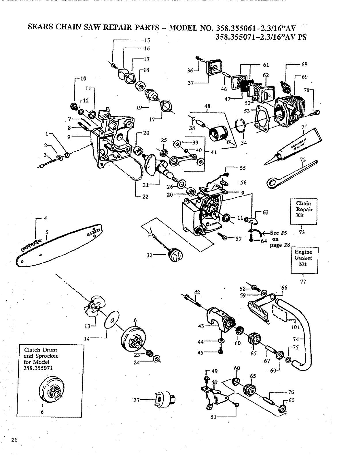 craftsman 358355061 user manual gasoline chain saws