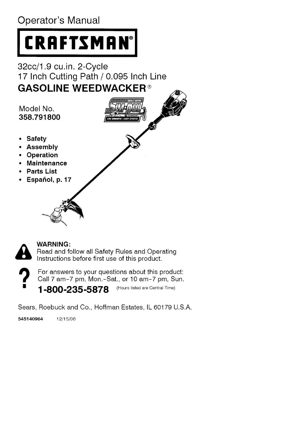 Craftsman weed Trimmer 25cc Manual
