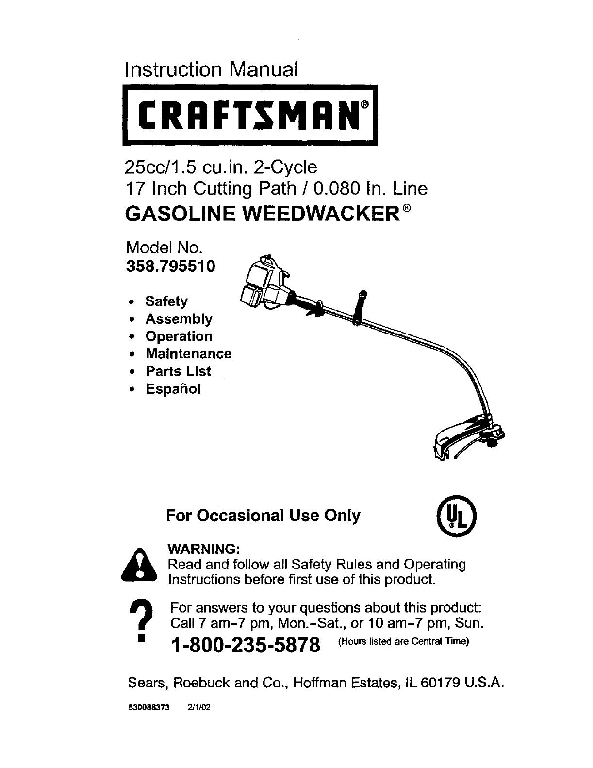 Craftsman 358795510 User Manual SEARS GAS WEEDWACKER Manuals And