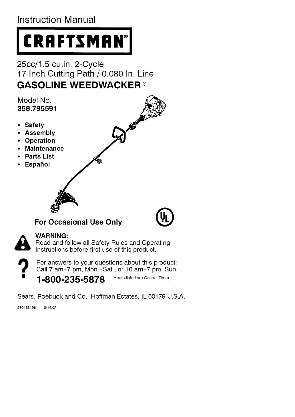 Craftsman 358795591 User Manual TRIMMER/WEEDWACKER Manuals
