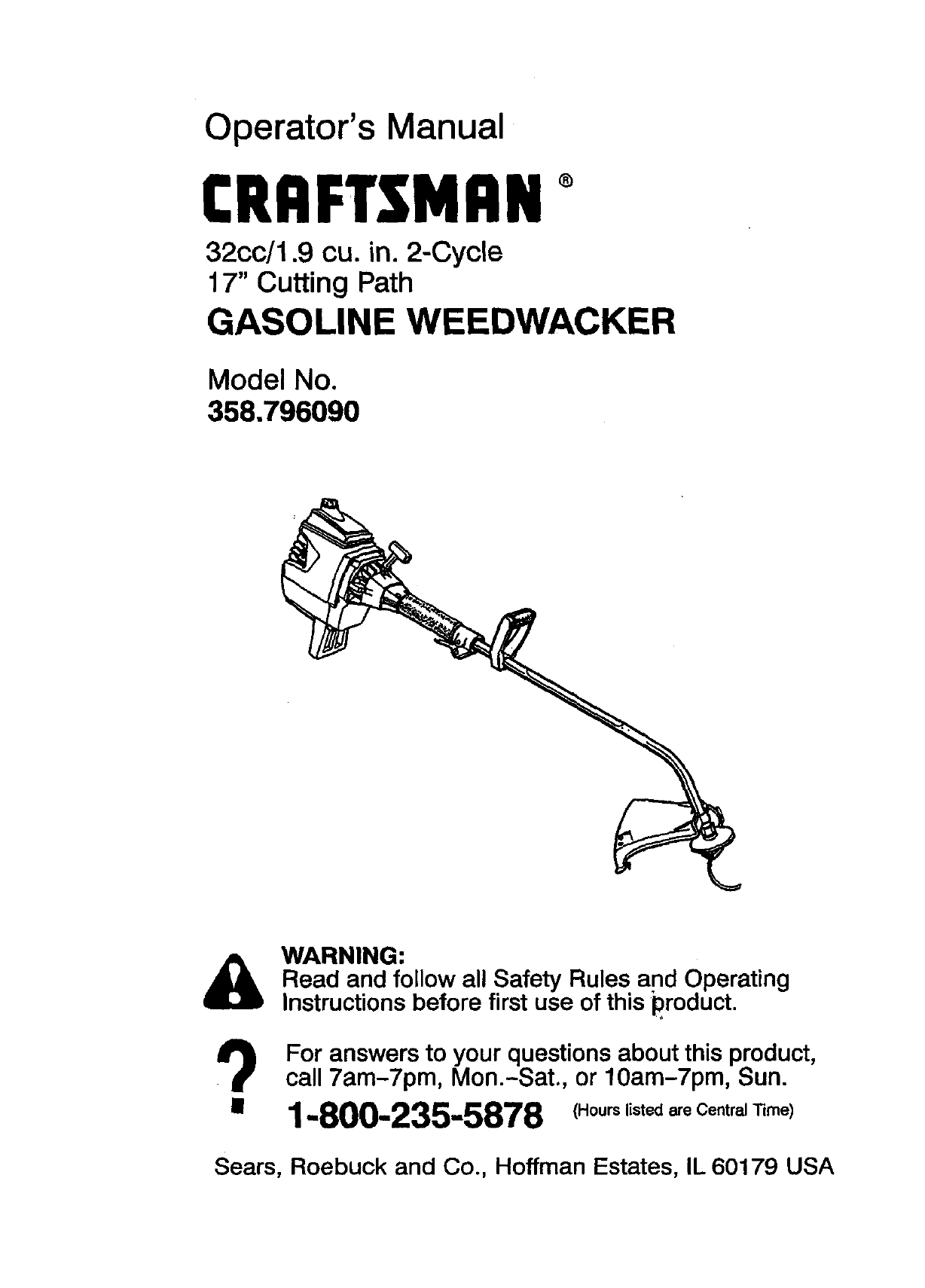 Craftsman 358796090 User Manual GASOLINE WEEDWACKER Manuals And