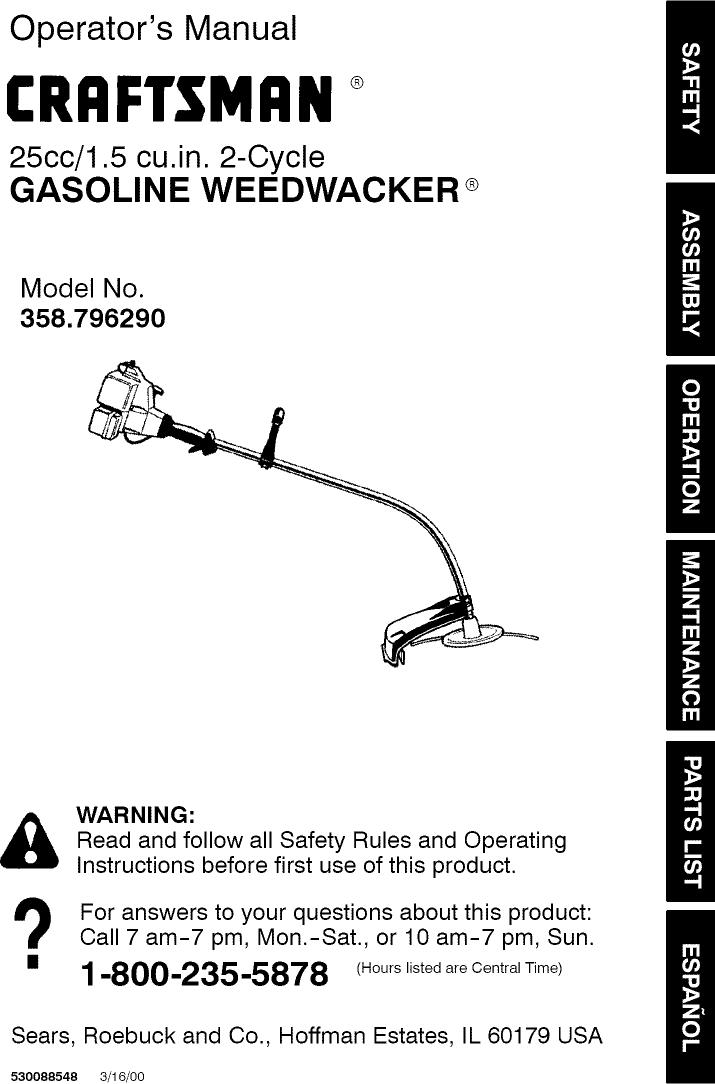 Craftsman 358796290 User Manual WEED WACKER Manuals And Guides L0808291