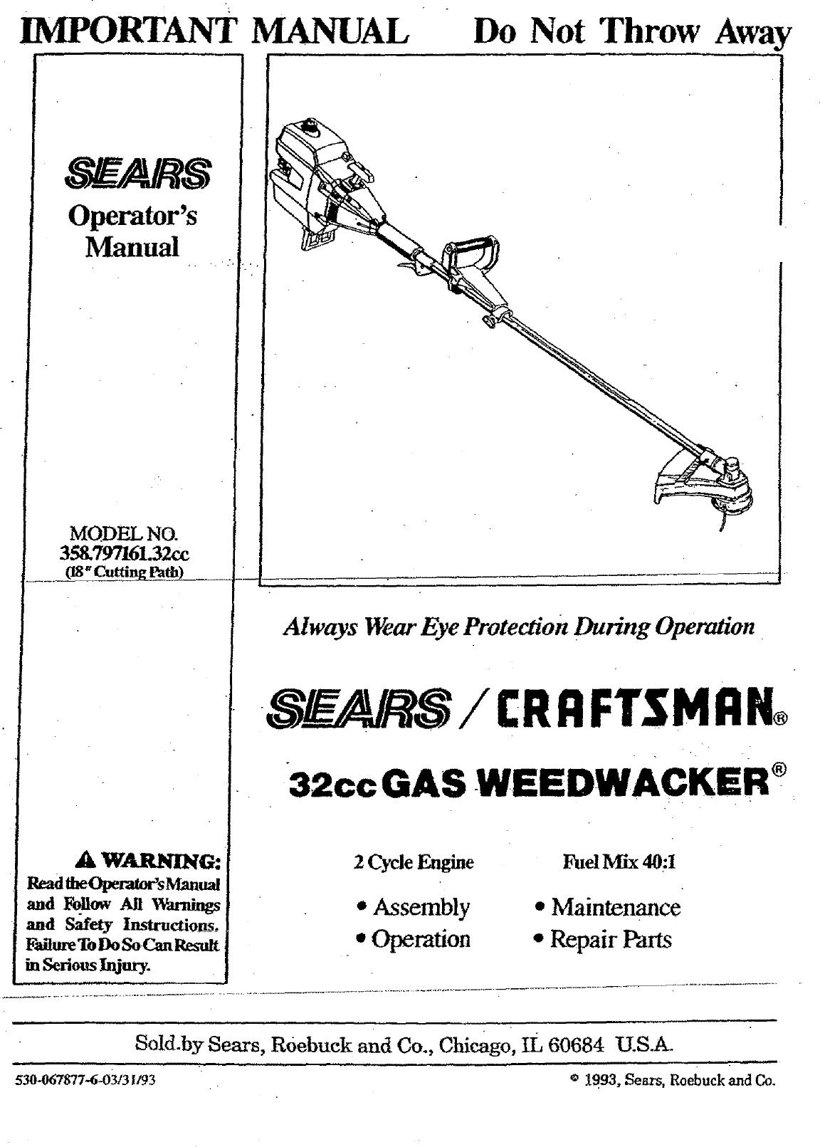 Craftsman 358797161 User Manual Weedwacker Manuals And