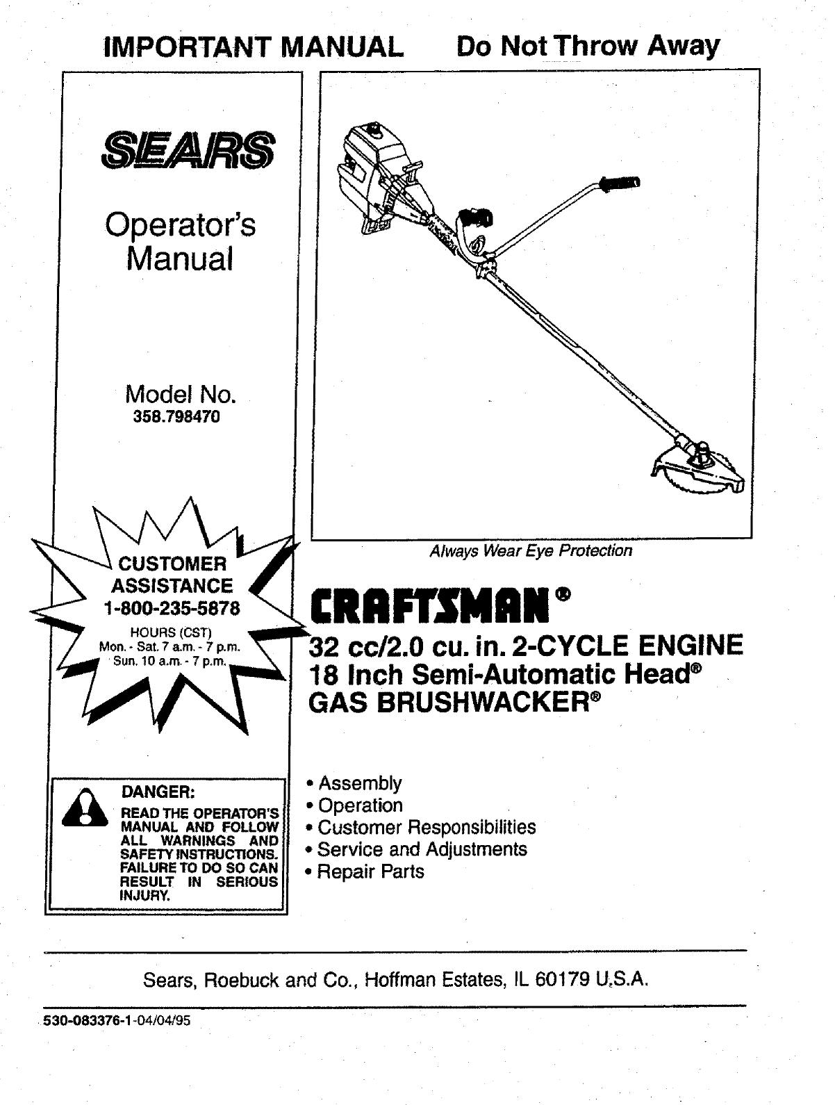 Craftsman 358798470 User Manual Trimmer  Weedwacker Manuals