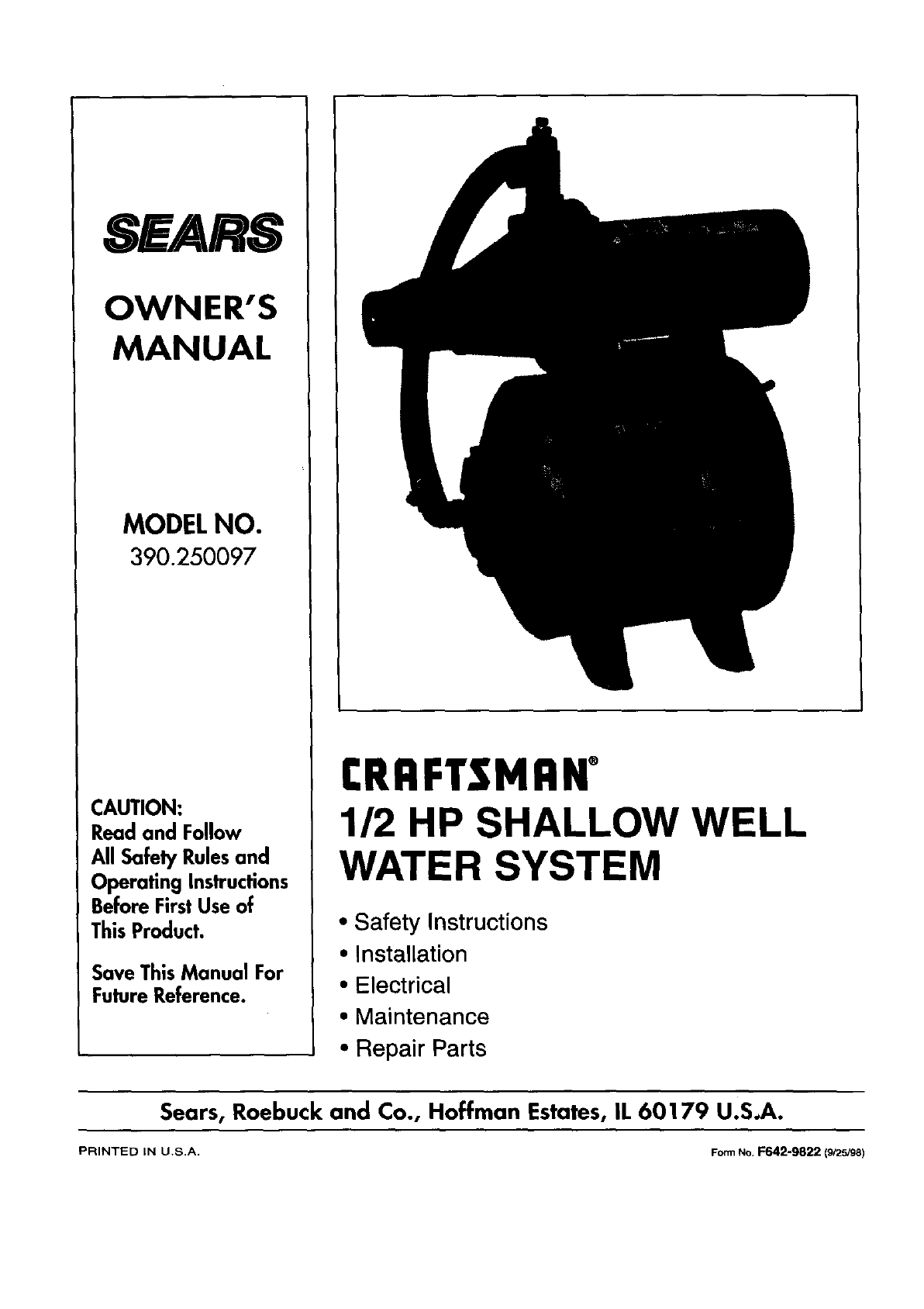 Craftsman 390250097 User Manual Shallow Well Pump Manuals And Guides Schematic L9080050
