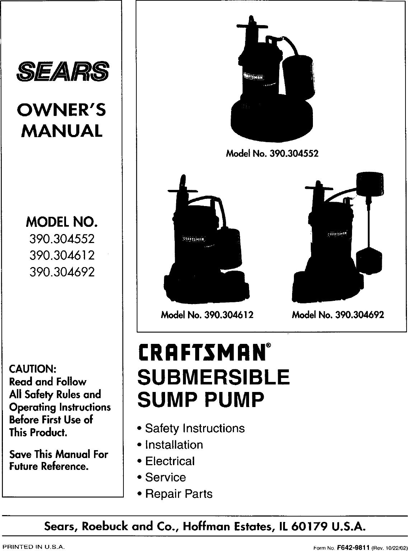 Nashville Sump Pump Manual Guide