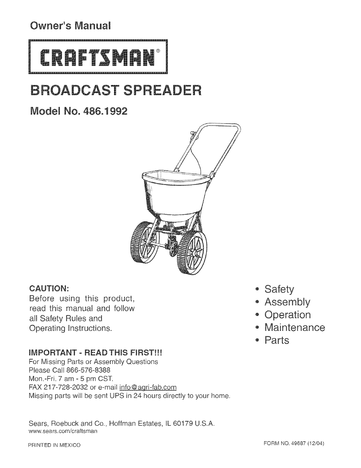 craftsman 4861992 user manual broadcast spreader manuals and guides rh usermanual wiki Craftsman Lawn Tractor Manual Craftsman Snow Blower Manuals 24788190 0