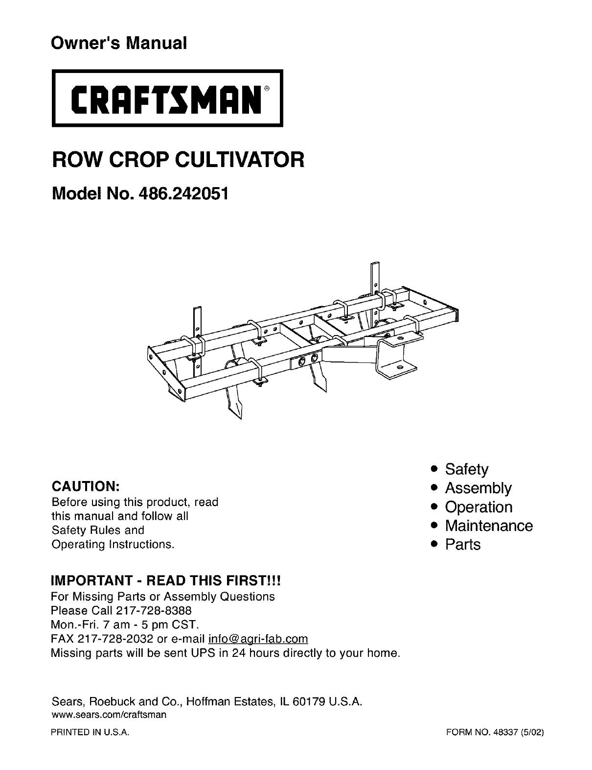craftsman 486242051 user manual cultivator manuals and guides l0303043 rh usermanual wiki Craftsman Snowblower Manual Craftsman Lawn Tractor Manual
