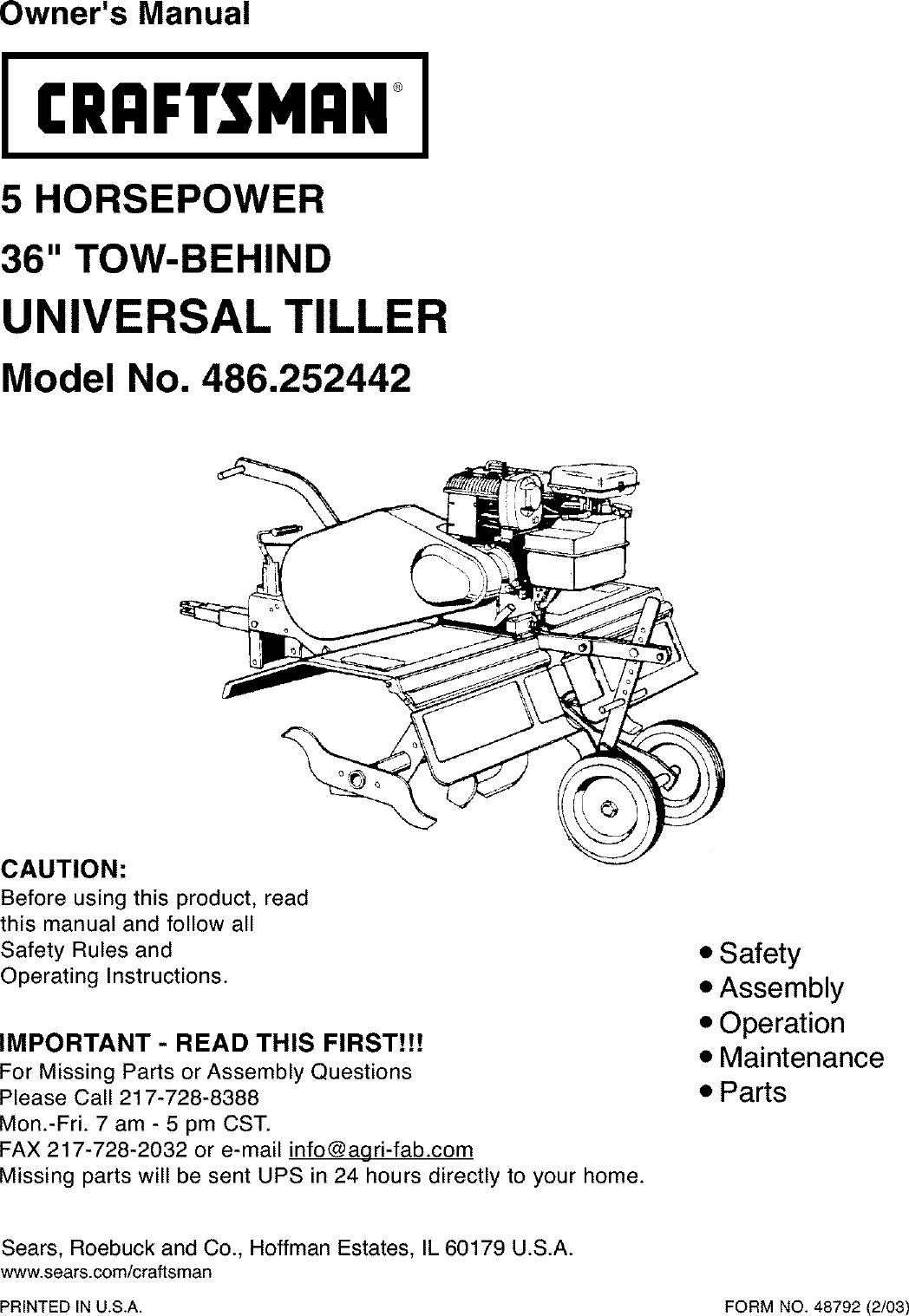Craftsman 486252442 user manual tiller manuals and guides l0303051.