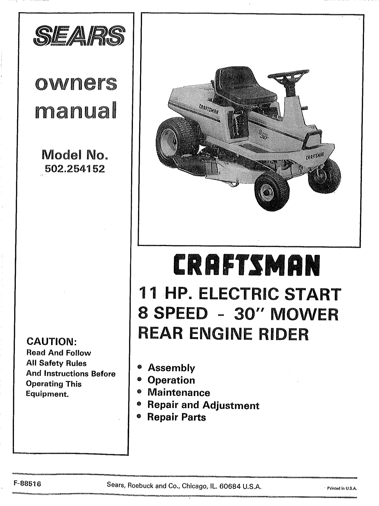 Craftsman 502254152 User Manual 11 HP REAR ENGINE RIDER Manuals And Guides  L1004284