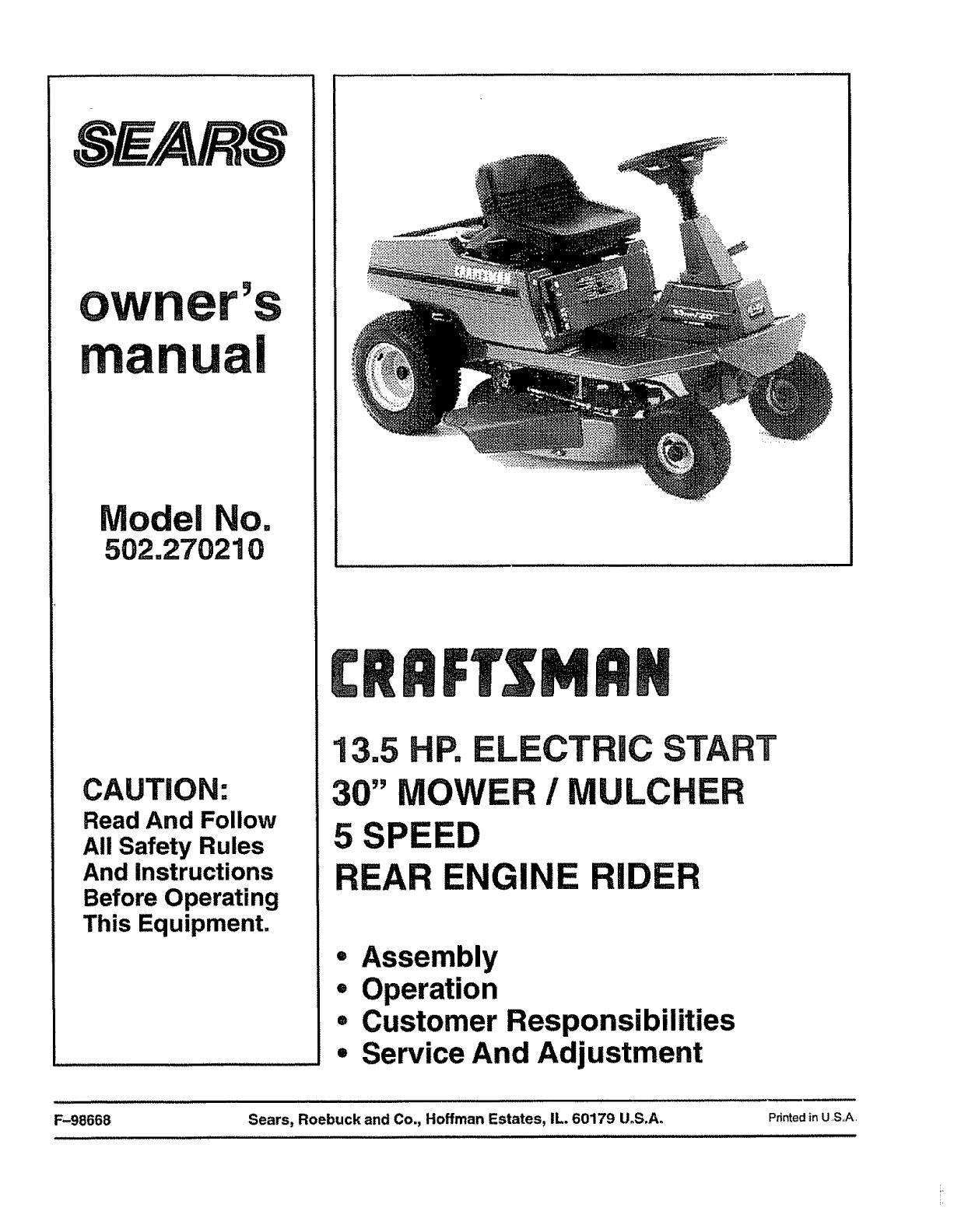 craftsman lawn aerator user manual