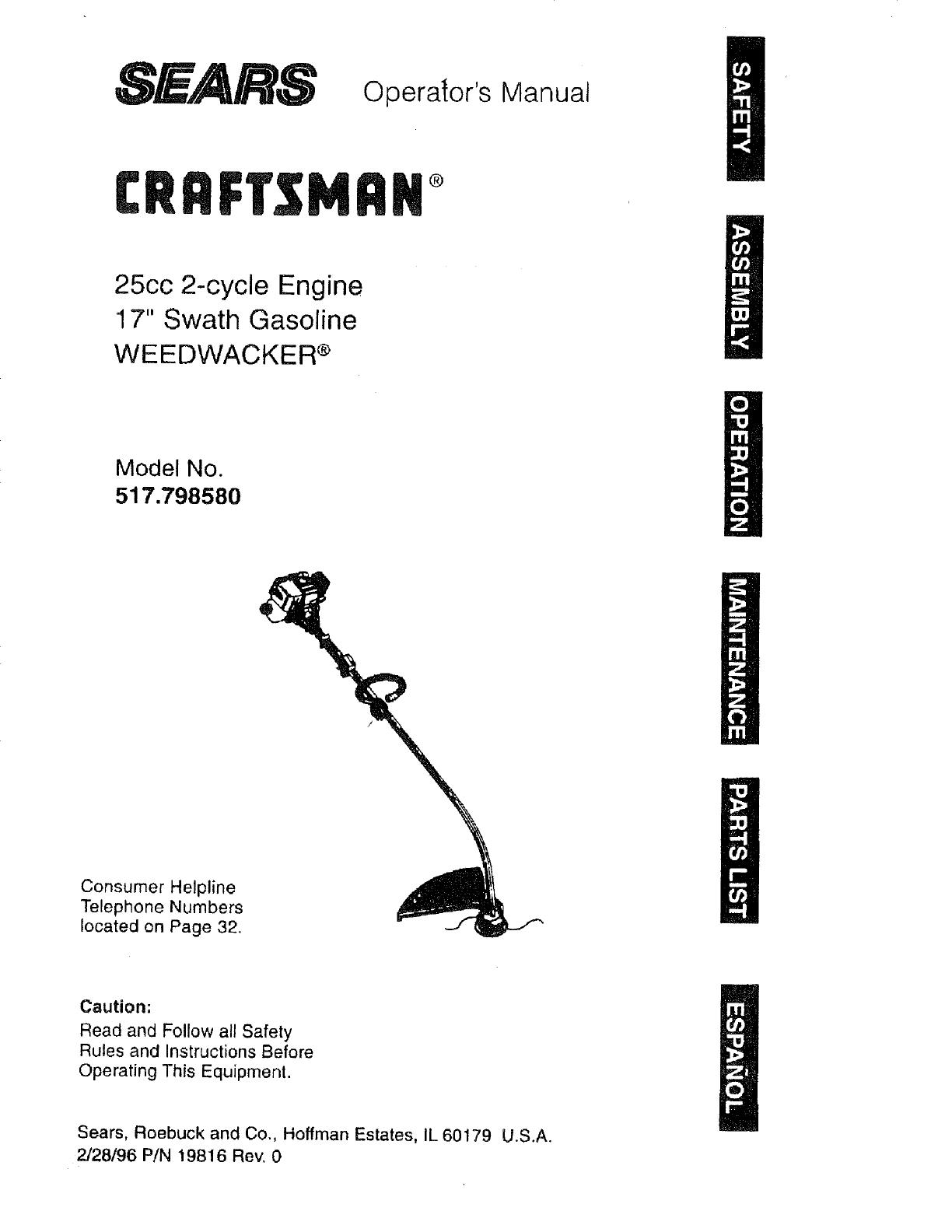 craftsman 517798580 user manual weedwacker manuals and guides l0710656 rh usermanual wiki Craftsman Snow Blower Parts Manuals Craftsman Lawn Tractor Manual