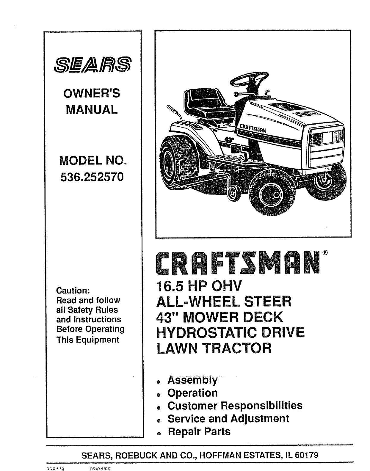 Craftsman 536252570 User Manual HYDROSTATIC DRIVE TRACTOR