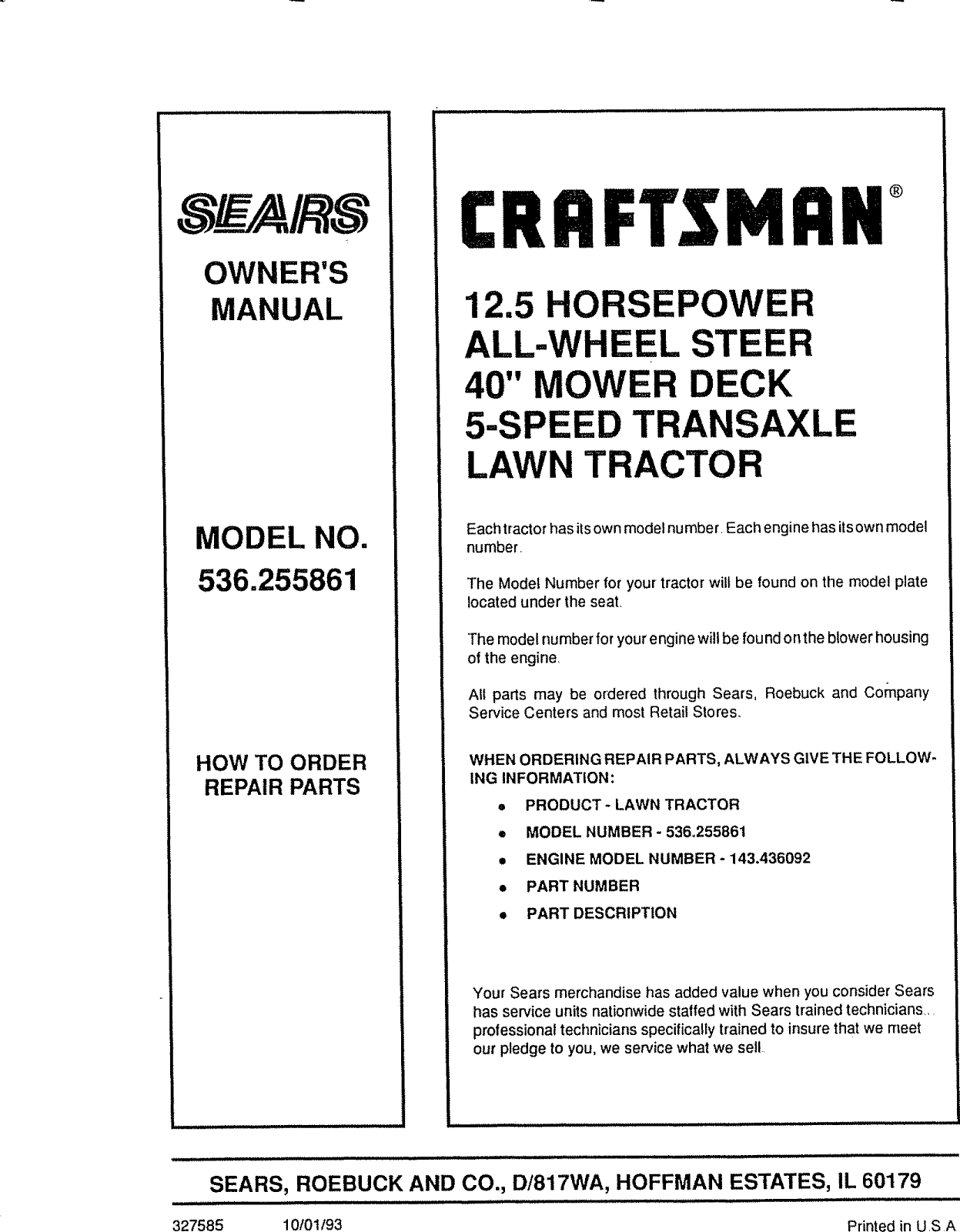 Craftsman 536255861 User Manual Lawn, Tractor Manuals And