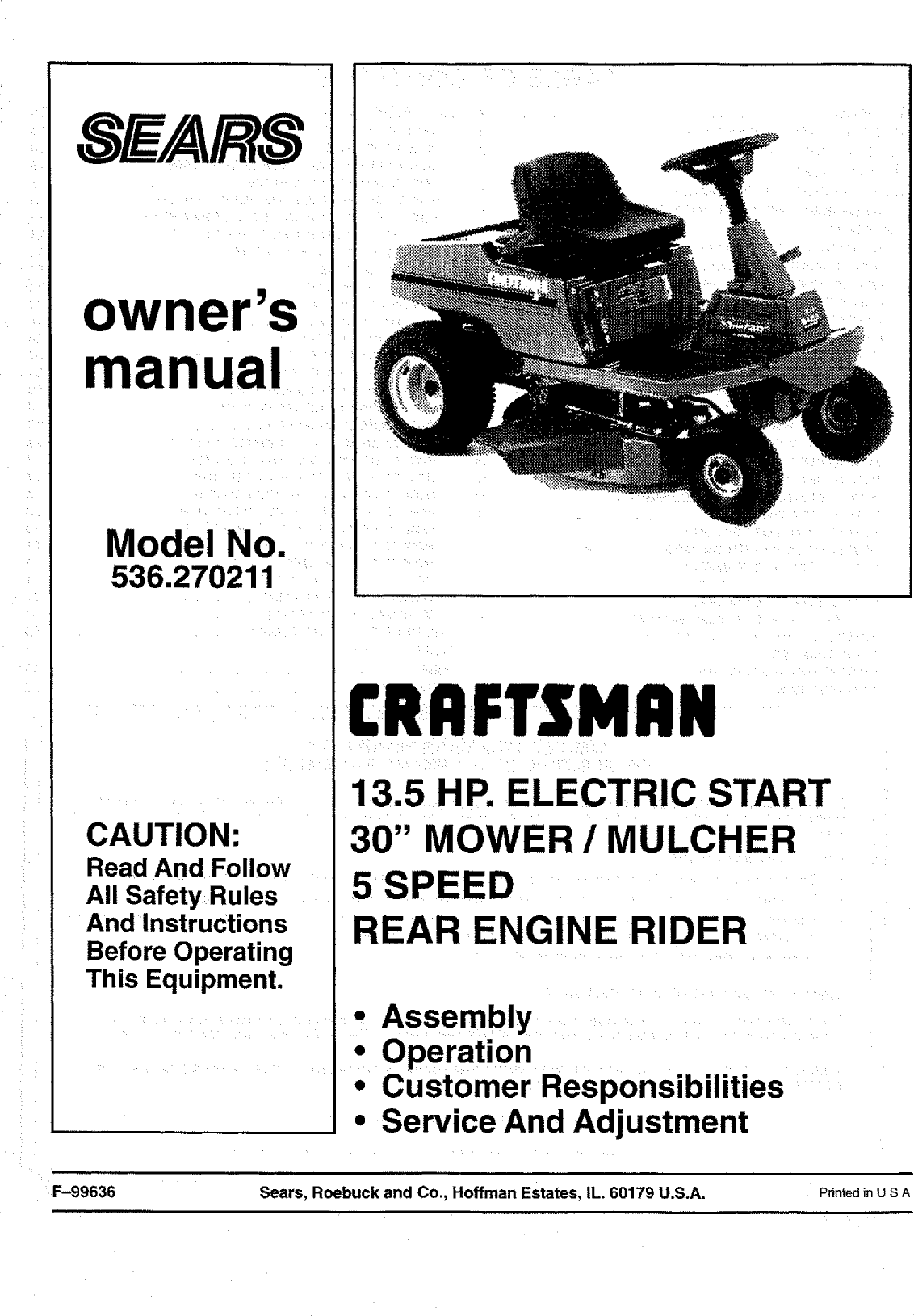 Looking For Craftsman Model 536270211 Rear Manual Guide