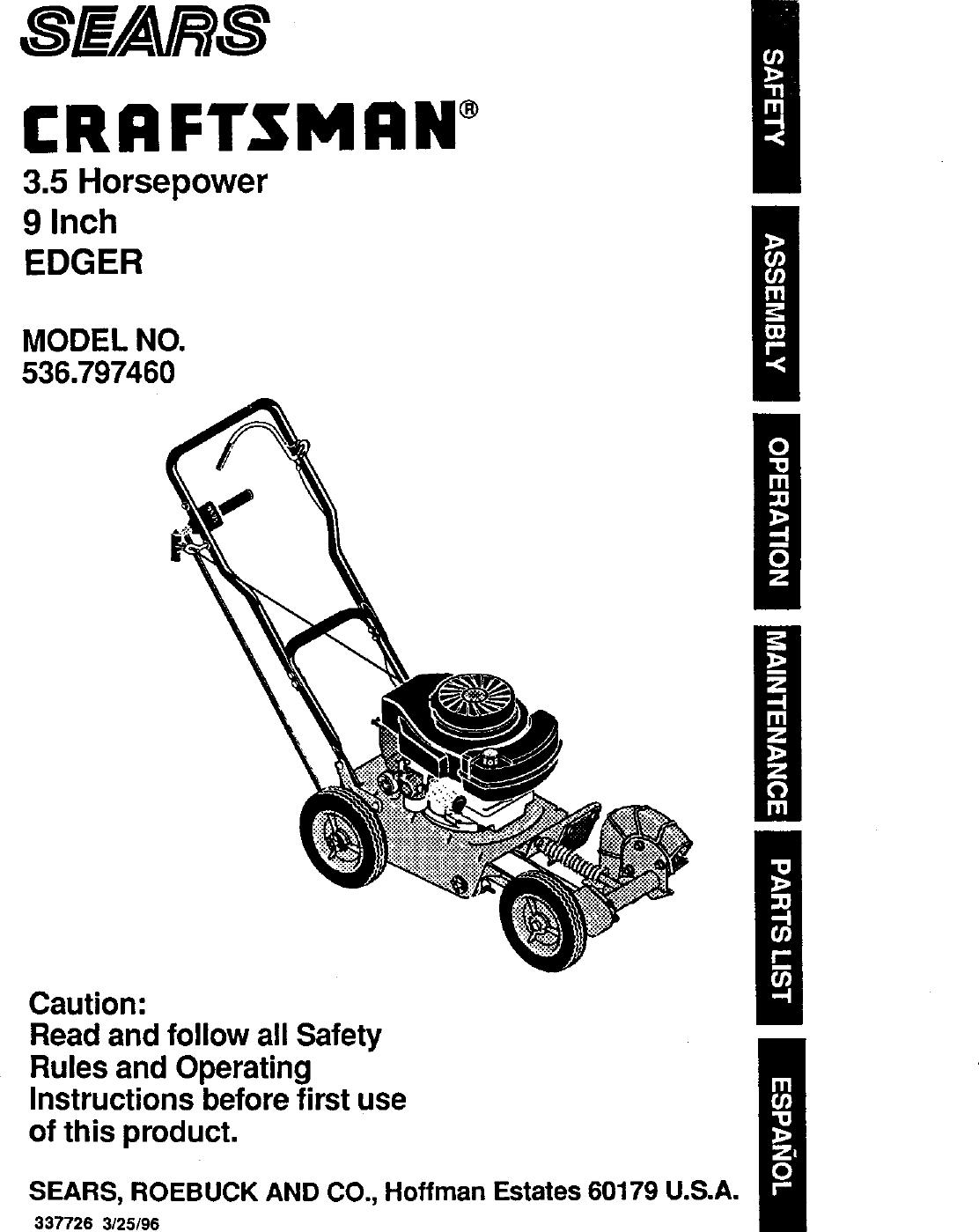 Craftsman 536797460 User Manual 3 5 HP 9 EDGER Manuals And