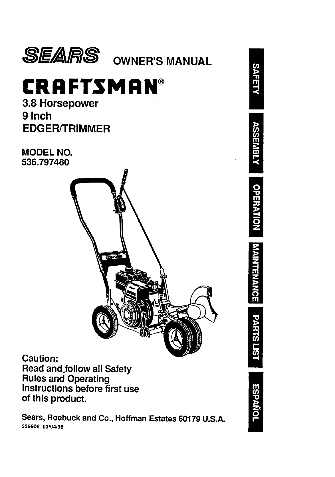 Craftsman 536797480 User Manual 3 8 Hp 9 Edger  Trimmer