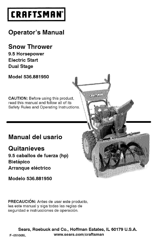 craftsman 536881950 user manual 9 5hp snow thrower manuals and rh usermanual wiki sears canada snowblower manual sears snow blower manuals 5 20