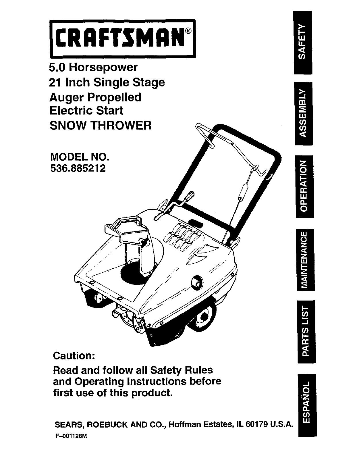 craftsman snowblower repair manual