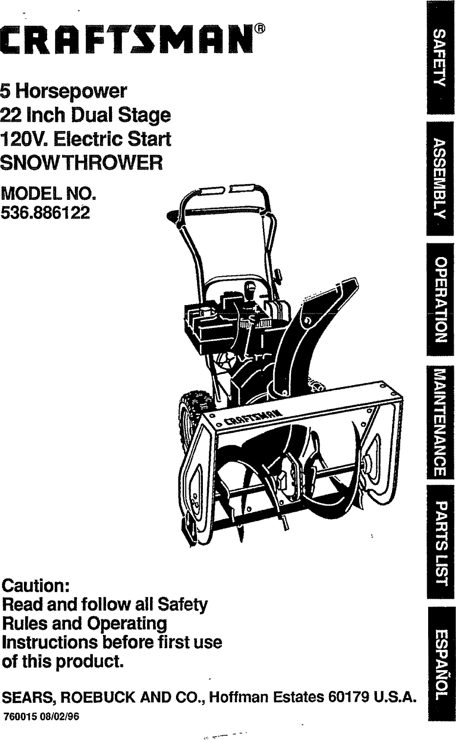 craftsman 536886122 user manual snow thrower manuals and guides l0912315 rh usermanual wiki