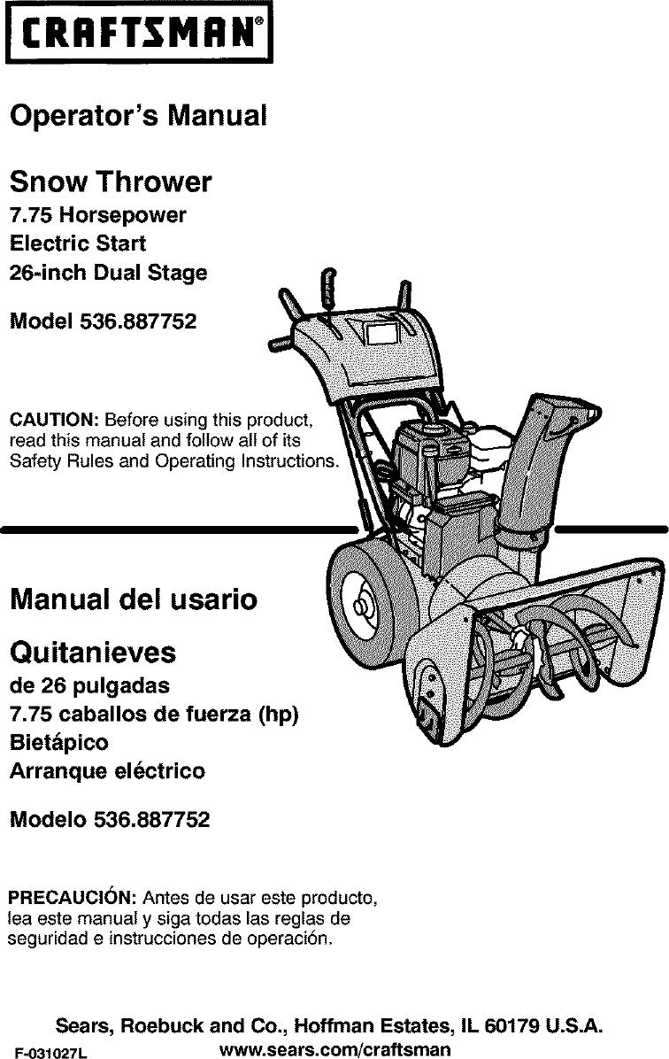 Craftsman 536887752 User Manual Snowthrower  Gas Manuals
