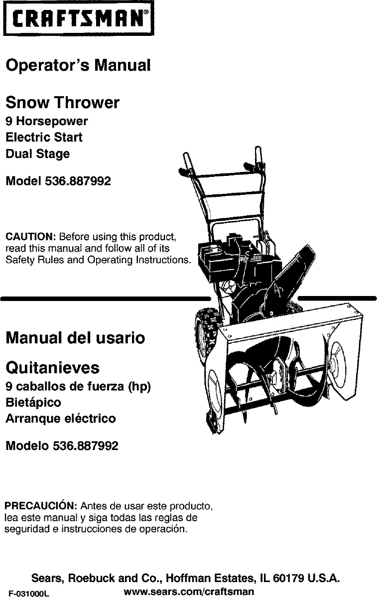 Craftsman 536887992 User Manual Snowthrower  Gas Manuals