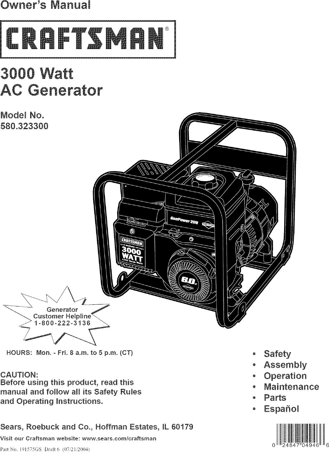 Craftsman 580323300 User Manual Generator Manuals And