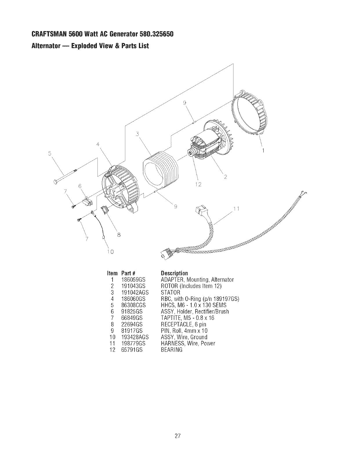 Craftsman 580325650 User Manual Ac Generator Manuals And Guides L0707200 Wire Ring Diagram Craftsmah5600 Watt