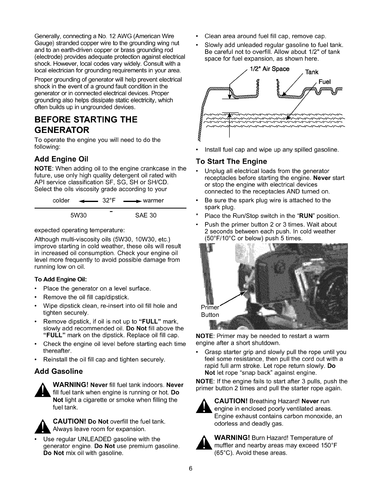 Craftsman 580327120 User Manual 2500W GENERATOR ON A 2 WHEEL