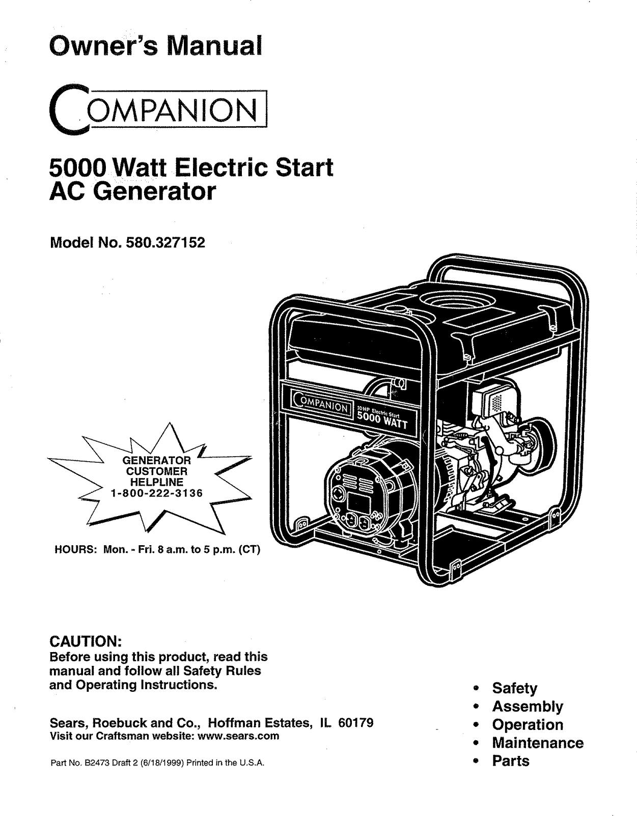 Craftsman Portable Generator Sears Wiring Diagram No 74148 Diagram
