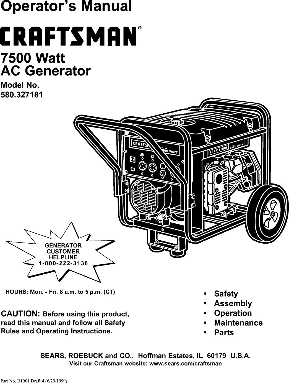 Craftsman 580327181 User Manual 7500 Watt Ac Generator Manuals And Wiring Diagram For Onan Guides L0208247