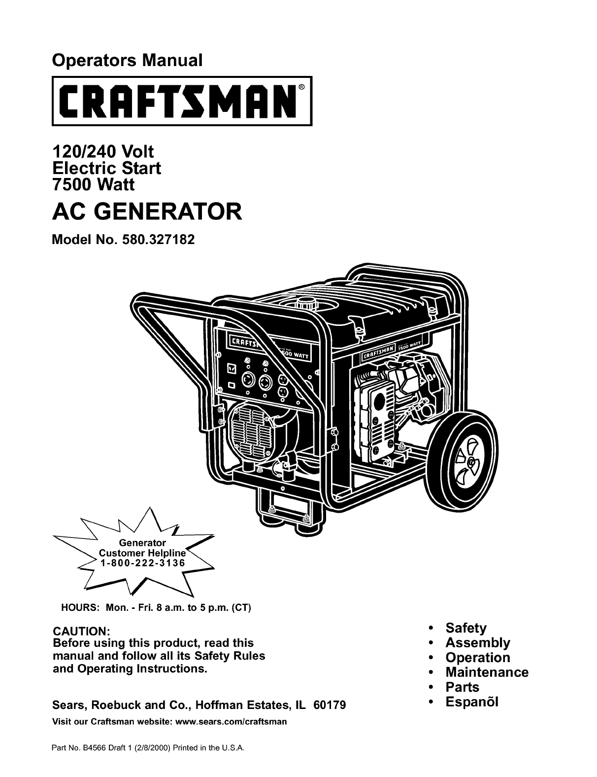 Craftsman 580327182 User Manual Ac Generator Manuals And Guides L0208249 Wiring Diagram For