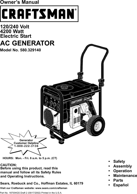 Craftsman 580329140 User Manual Generator Manuals And Guides L0209327 65795gs Rectifier Wiring Diagram