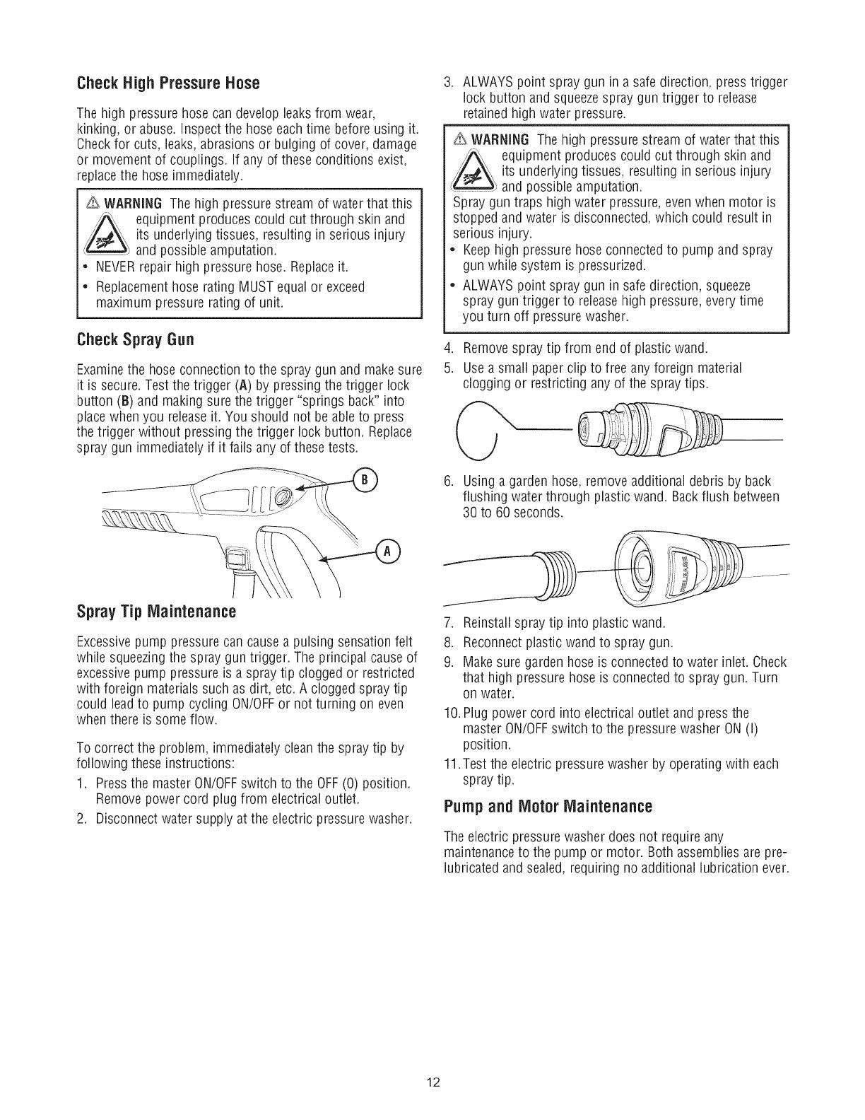 Craftsman 580750290 User Manual ELECTRIC POWER WASHER