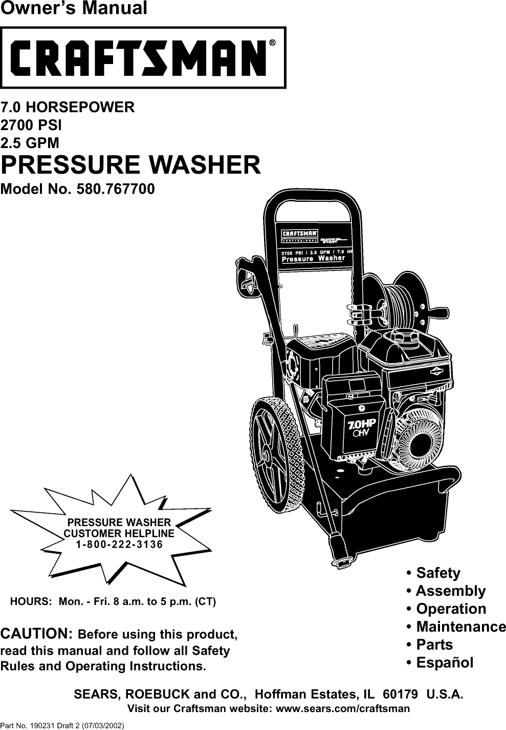 craftsman 580767700 user manual pressure washer manuals and guides