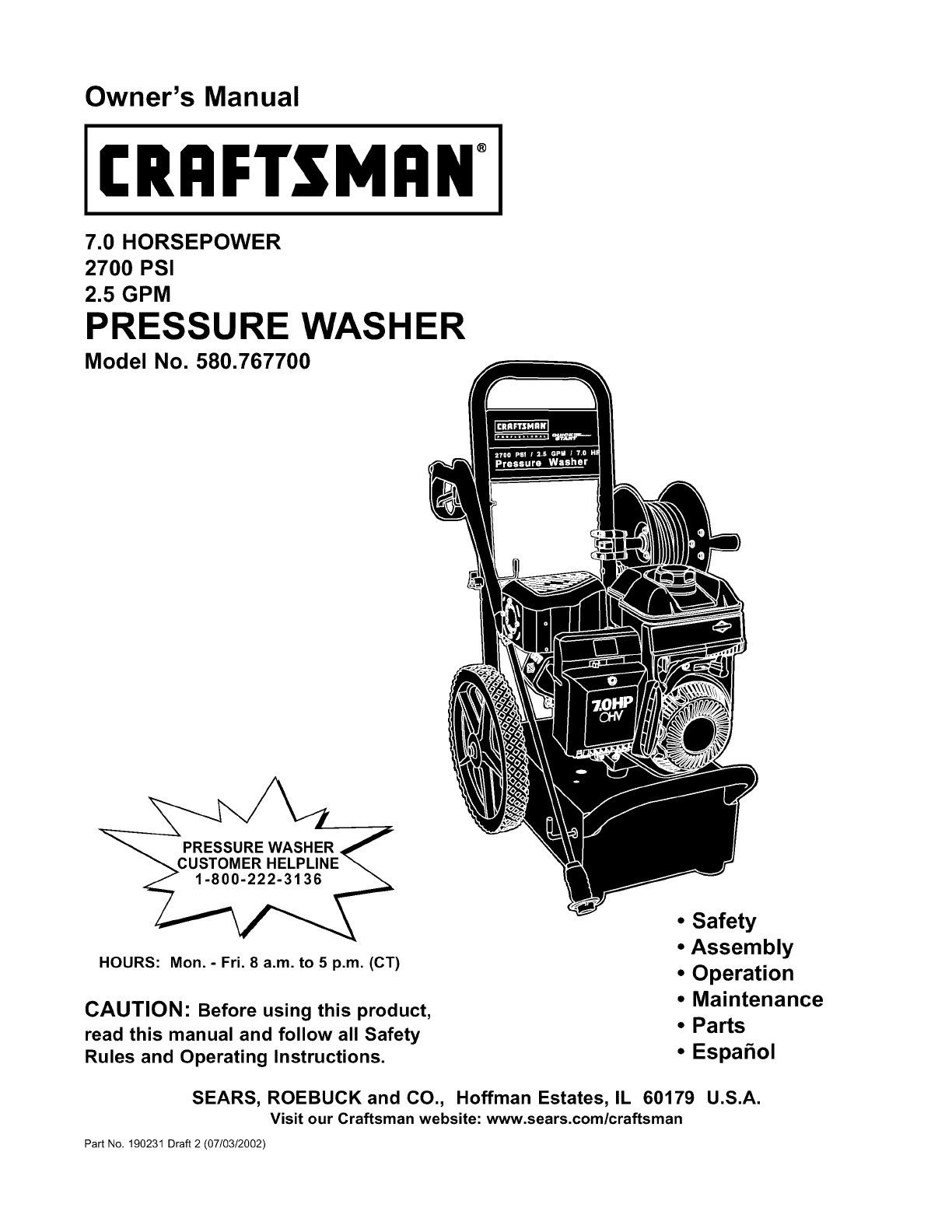 Craftsman 580767700 User Manual Pressure Washer Manuals And Guides. Craftsman 580767700 User Manual Pressure Washer Manuals And Guides L0209073. Wiring. Craftsman Pressure Washer Engine Parts Diagram At Scoala.co