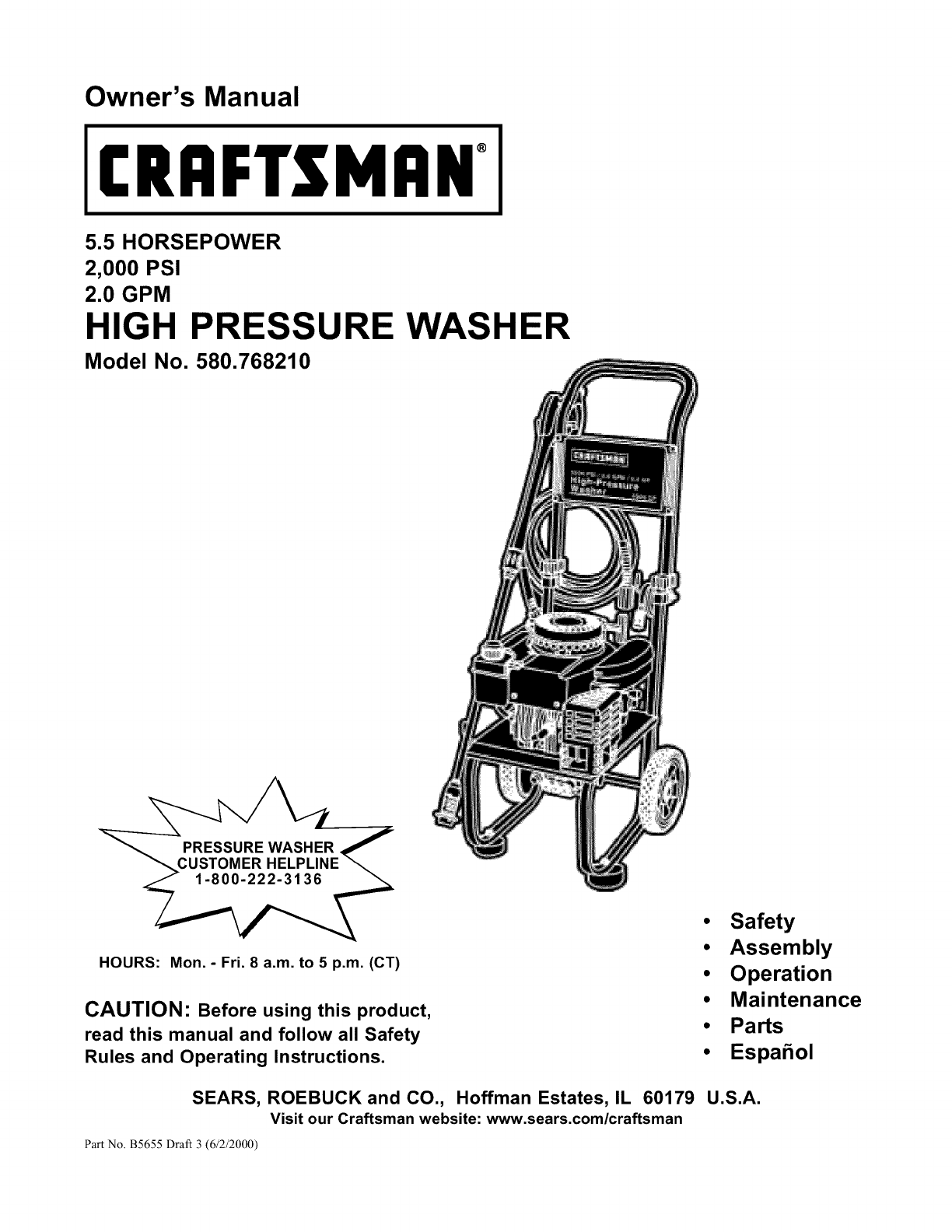 Craftsman 580768210 User Manual Pressure Washer Manuals And Guides Wiring Diagram For L0208266
