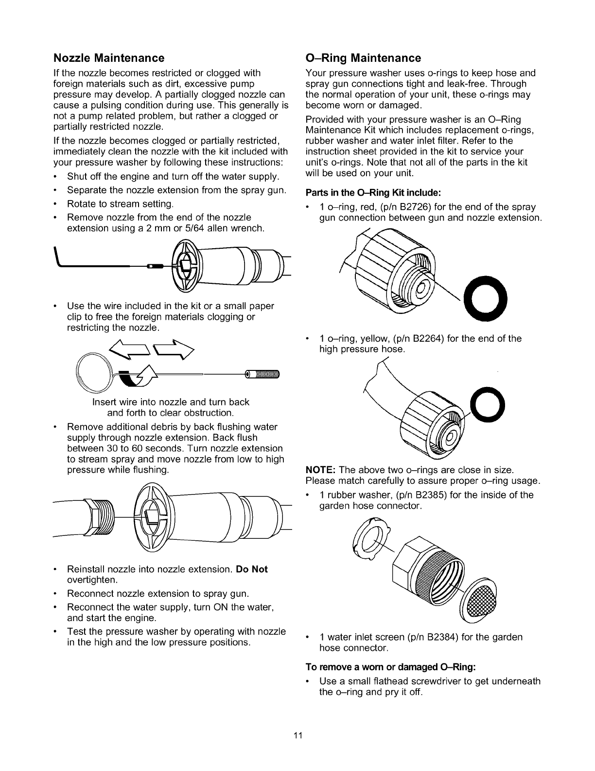 Craftsman 580768210 User Manual Pressure Washer Manuals And Guides Ring Flat Baja M8 Nozzle Maintenance