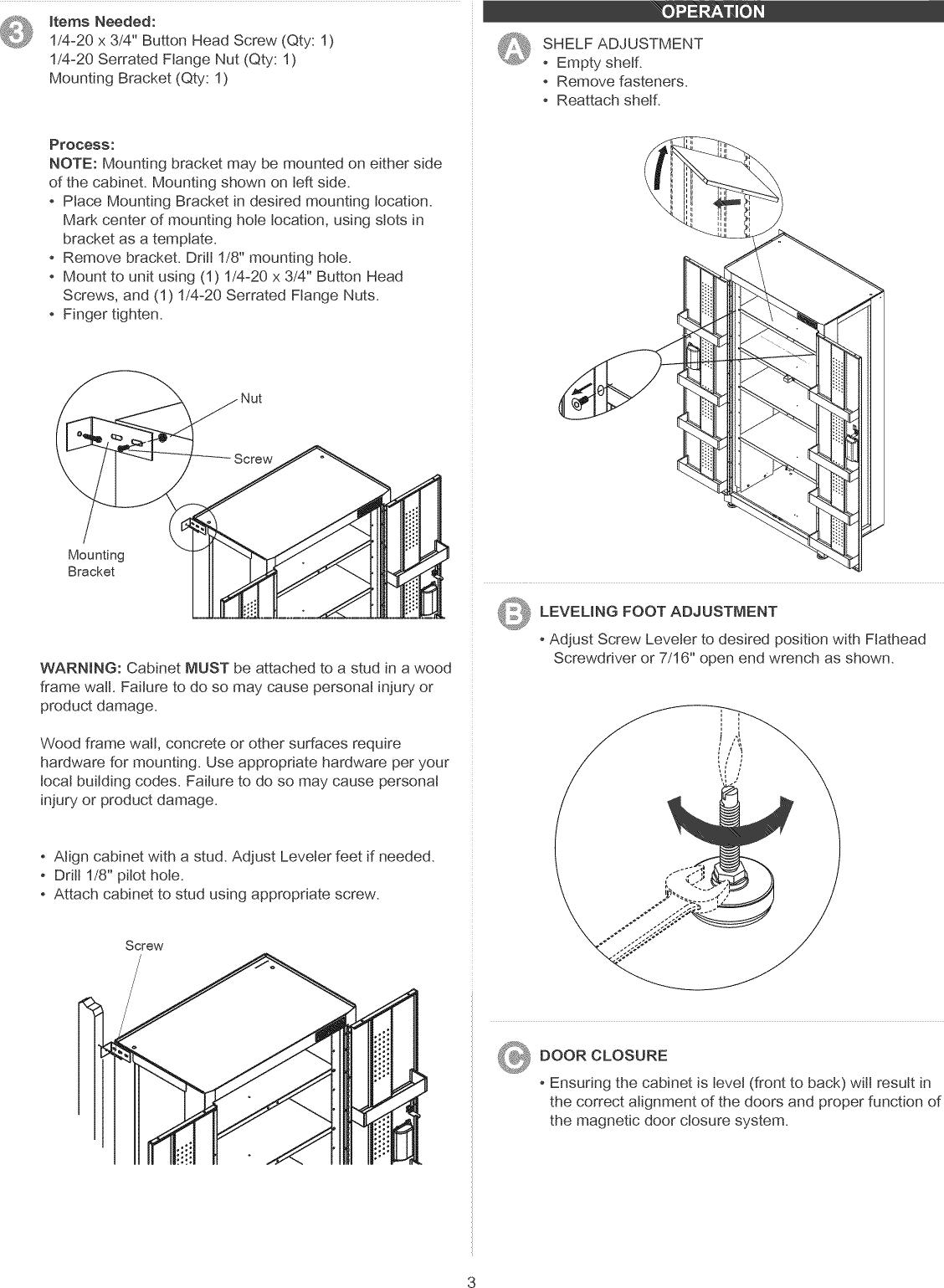 User Manual Floor Tool Cabinet Manuals, Craftsman Floor Cabinet Assembly Instructions