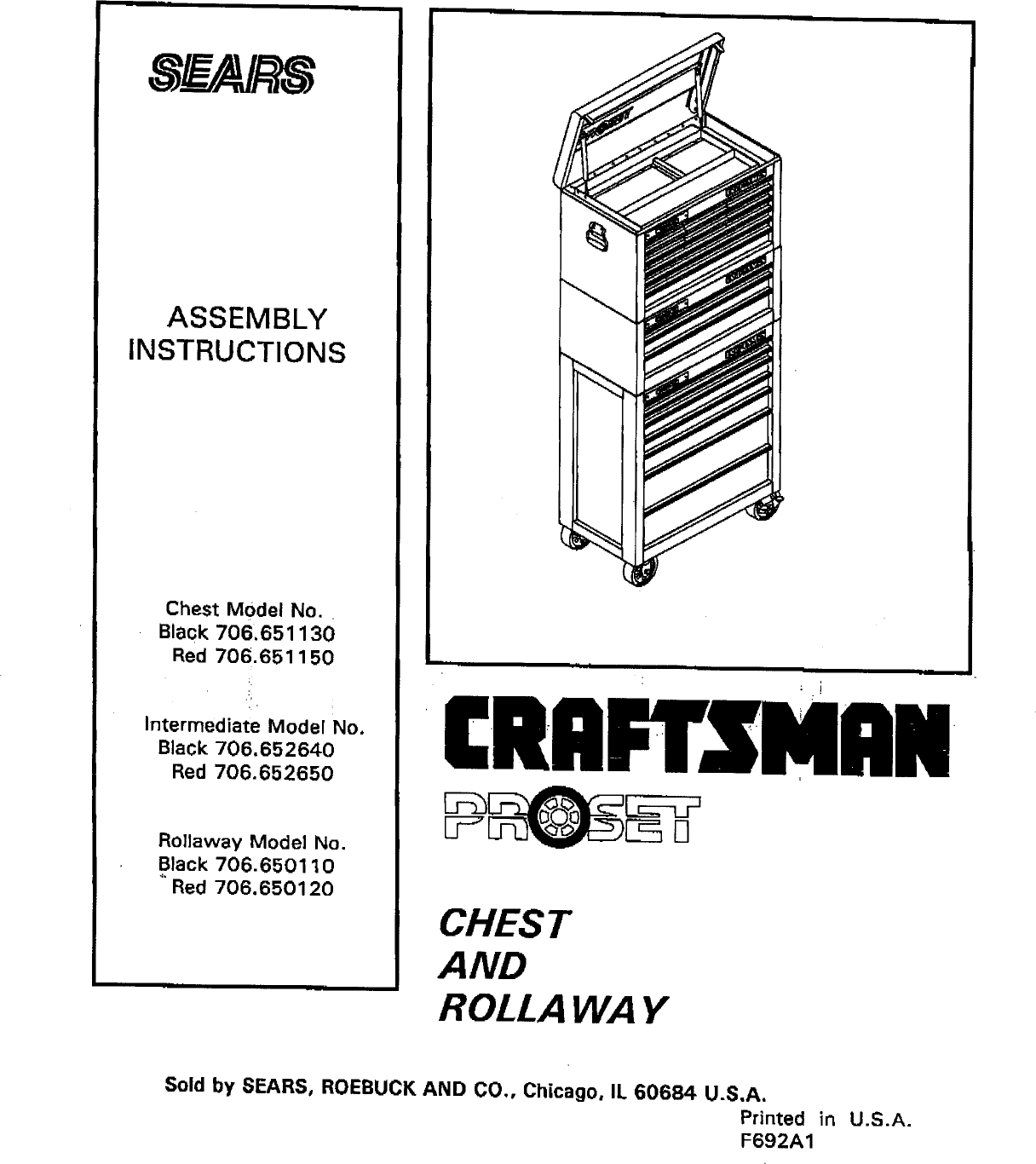 Craftsman 706650110 User Manual Tool Chest Manuals And Guides L0908372