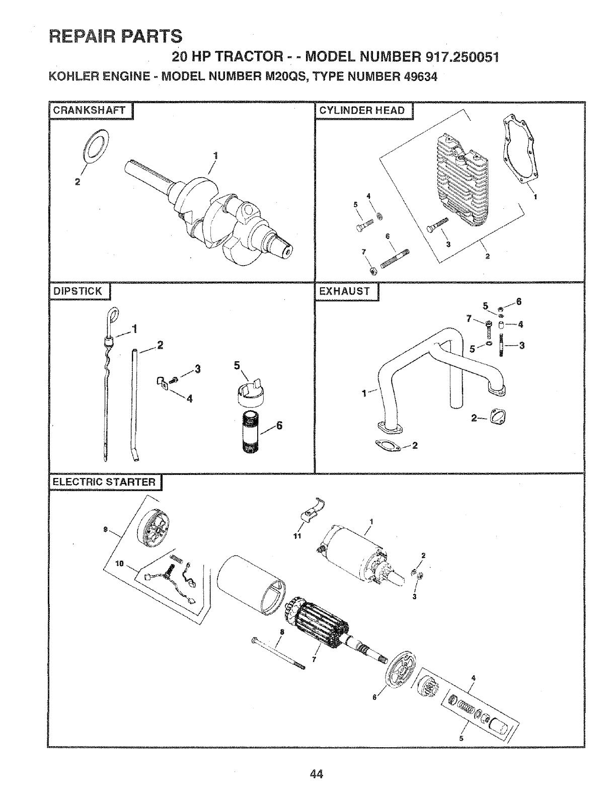 craftsman 917250051 user manual garden tractors manuals and guides Kohler K-Series Engine Specs repair parts