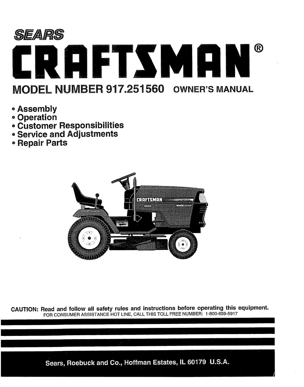 Craftsman 917251560 User Manual Garden Tractor Manuals And Guides