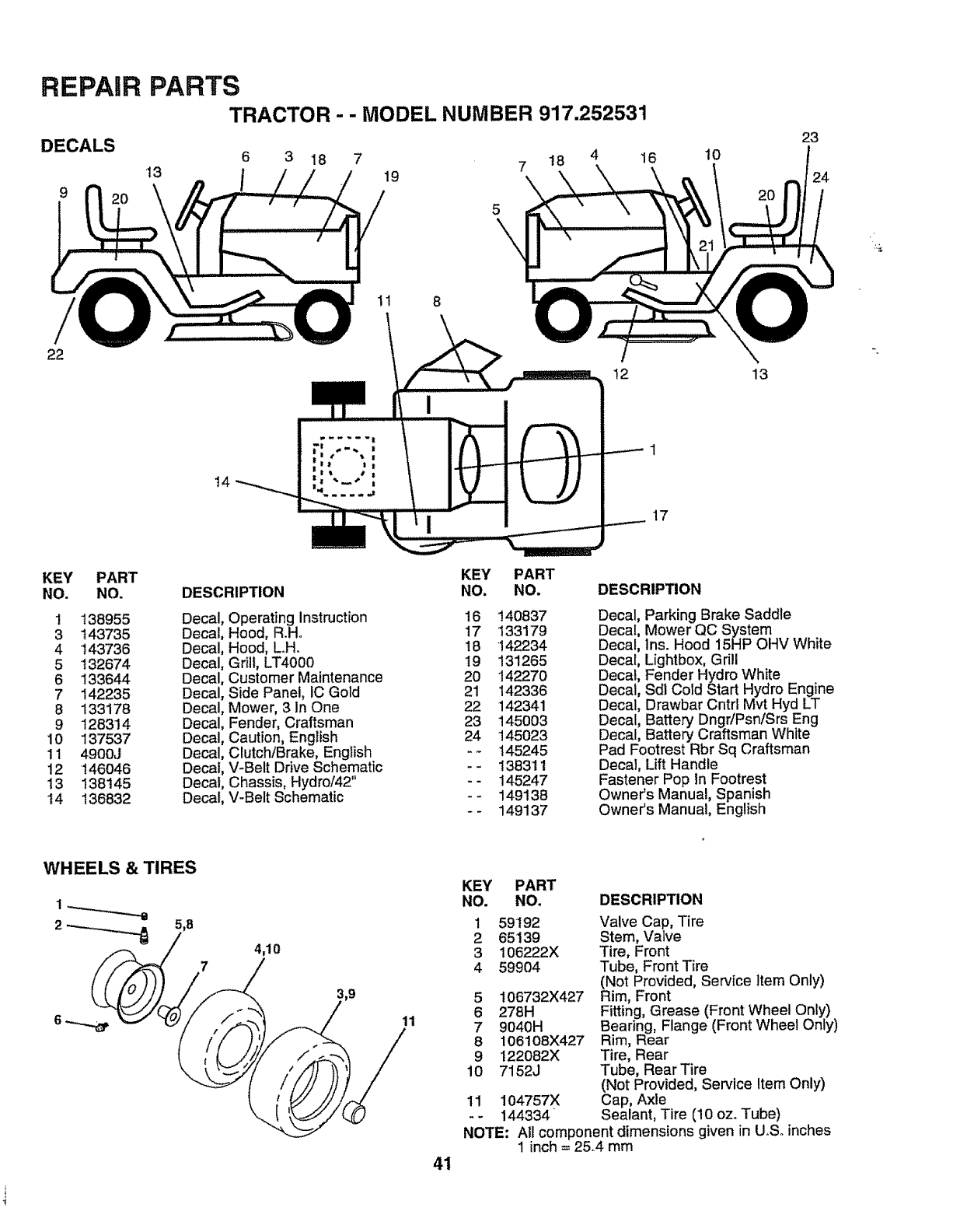 Craftsman 917252531 User Manual Lawn Tractor Manuals And Guides Lt4000 Wiring Diagram Repair