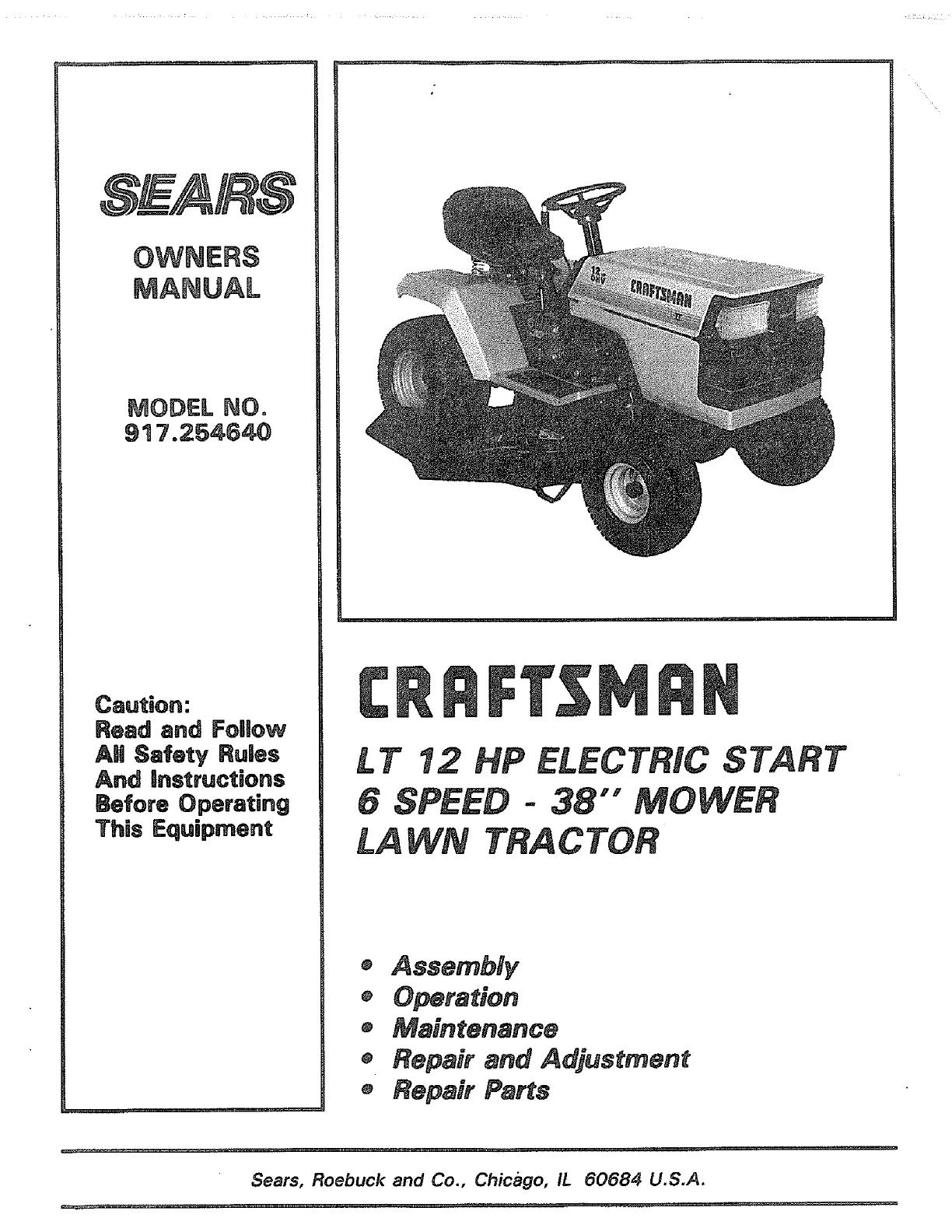 Craftsman 917254640 User Manual 12 H.P. 38 RIDING LAWN TRACTOR Manuals And  Guides LR708037