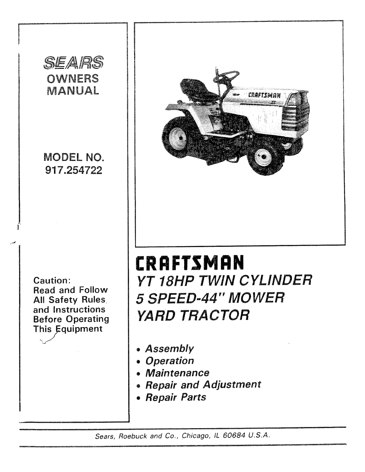 Craftsman 917254722 User Manual 18 HP TRACTOR Manuals And