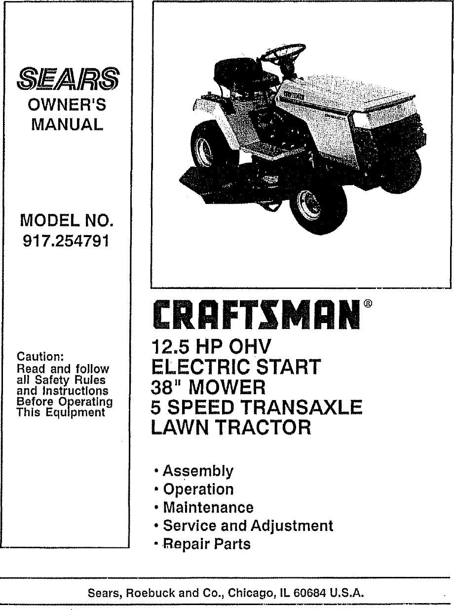 Craftsman 917254791 User Manual 12 5 HP 38 RIDING LAWN TRACTOR
